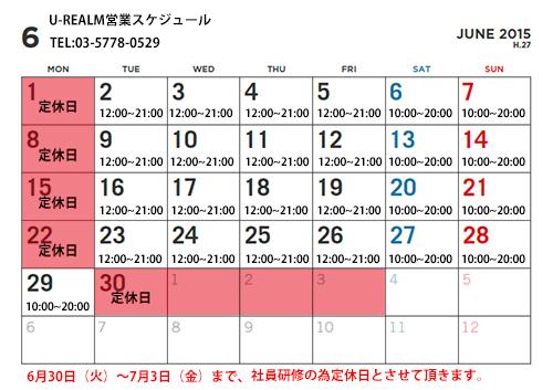 2015年6月U-REALMスケジュール