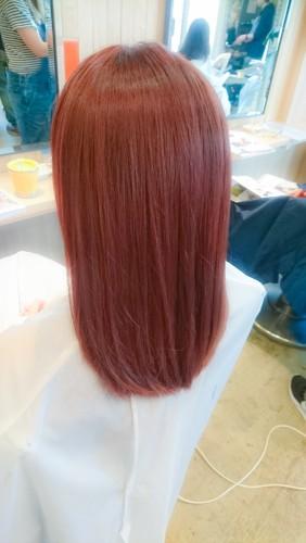 ブリーチ毛にイルミナカラーのコーラル6トーンで染める03